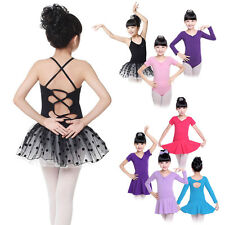 4-14Y  Kids Girls Ballet Leotard Dress Latin Dance Gymnastics Dancewear Garment