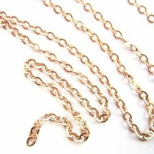 Rose Gold Plated Sterling Silver Chain - 2.3mm Strong Flat Cable ( by the Foot)