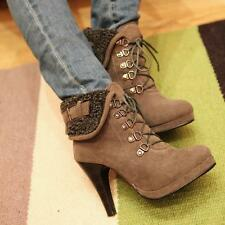new stylish womens winter elegant ankle boots high heels lace up shoes pump