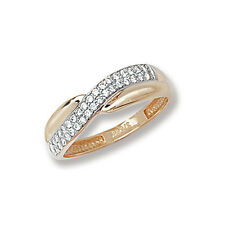 Crossover Ring Yellow Gold Ladies Ring Cubic Zirconia Solid Gold Ring Hallmarked