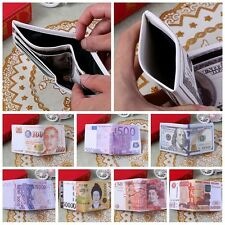 Unisex Currency Money Print Pattern PU Leather Bifold Purse Dollar Wallets