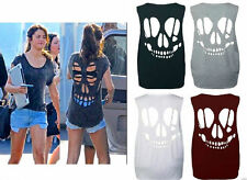 Ladies Women Sleeveless Laser Skull Cut Out Open Back Vest Top  Baggy T Shirt