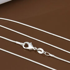 """NEW WHOLESALE LOT 10PCS SNAKE CHAIN NECKLACES 1MM 16""""-24"""" INCH 925 SILVER PLATED"""