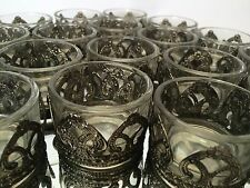 Set of Clear Glass Tea Light Holders Antique Metal Hearts Christmas Decoration