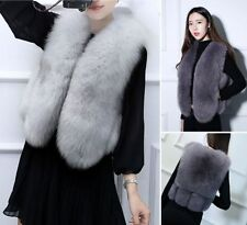 Genuine Blue Whole Fox Fur Vest Gilet Waistcoat Jacket Women's Warm Garment