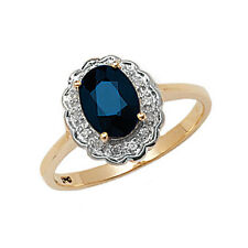 Sapphire Ring Diamond Engagement Oval Cluster Yellow Gold Dress Ring