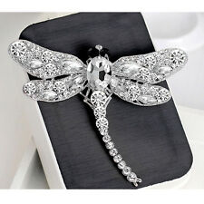 Women's Dragonfly Crystal Brooch Rhinestone Lady Scarf Pin Jewelry