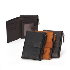 Retro Men's Cowhide Leather Clutch Cards Holder Zip Coin Pouch Purse Wallet