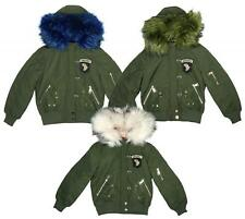 Girls Airborne Faux Fur Lined Hooded Bomber Combat Jacket Coat 5 to 16 Years