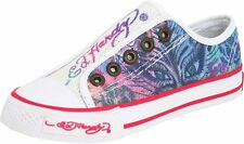 Ed Hardy Kids Authentic Orlean sparkling Sequins Fashion Sneaker Shoes White New