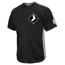 MLB Majestic Chicago White Sox Mens Black Crosstown Rivalry Full Button Jersey