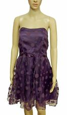 Milla Purple Spotty Satin Lined Mesh Strapless Sleeveless Party Dress Size 12 14