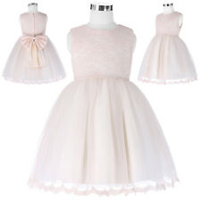 Pink Tulle Flower Girls Princess Bridesmaid Wedding Pageant Party Dress 2-11Year