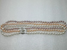 "AAA Natural Pink White Lavender 6*7mm Rice Pearl Necklace 17"" 14k Christmas Gift"