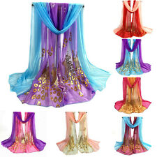 Womens Hit Color Peacock Soft Scarves Pretty Long Wraps Shawl Beach Stole Scarf