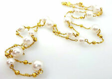 Sterling Silver Freshwater Pearl Italian Necklace Beaded Chain Necklace