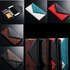 Apple iPhone Stand Case Envelope Leather Wallet Card Holder Photo Frame Cover