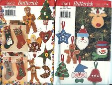 Butterick 4661 4662 Christmas Holiday Patterns ornaments stockings UNCUT NEW FF