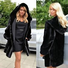 Fashion Lady Warm Winter Faux Fur Hooded Parka Coat Overcoat Long Jacket Outwear