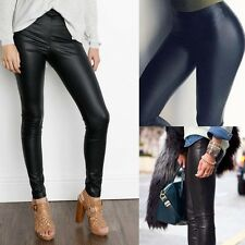 Sexy High Waisted Women's Faux Leather Pants Stretch Pencil Leggings Waterproof