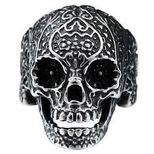 316L Stainless Steel Fashion Mens Punk Floral Skull Biker Ring Jewelry Size 8-12