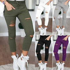 New Womens Ladies Stretch Faded Ripped Jeggings Pants Slim Fit Skinny Trousers