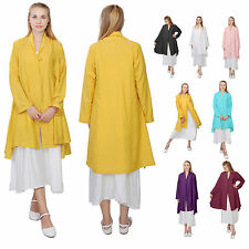 WOMENS ORGANIC SILK COTTON LINEN LOOSE FIT CARDIGAN TRENCH COAT DRESS CASUAL