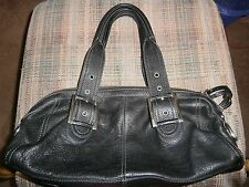Alfani Black Pebble Leather Satchel Handbag purse
