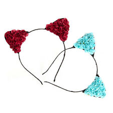 Women Lady Girls Floral Cat Ears Headband Party Costume hair band Cosplay