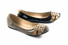 Miss Sixty Hailey Ballerina Flats Black Mud Patent Double Buckle Stud Ladies