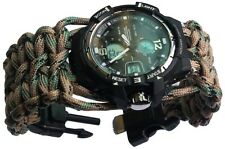 Water Risistant Wrist paracord Bracelet Watch Army Analog-Digital Camping Compas
