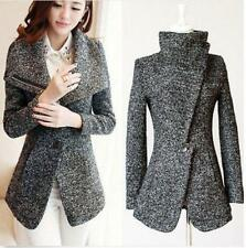 Womens Wool blend Winter Warm Slim formal Coat  Jacket Parka lapel Outerwear
