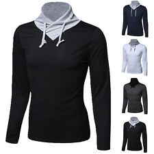 Men's Stand Collar Long Sleeve T-Shirt Slim Fit Casual Splice Multi Color Tops