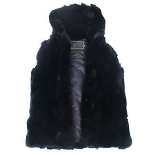 Men's Real Rex Whole Rabbit Fur Hooded Vest Jacket Coat Classic Black Warm Coat