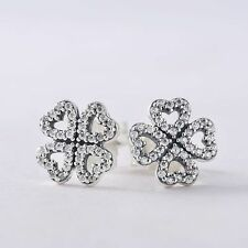 New authentic sterling-silver Pave AAA CZ Petals of Love Heart Stud Earrings