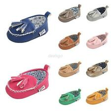 0-18M Baby Tassel Leather Soft Sole Shoes Infant Boy Girl Toddler Crib Sneakers