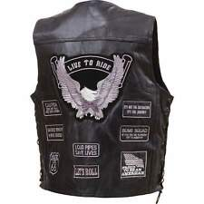 Mens Black Leather Biker Motorcycle Vest Gray live to Ride Patches