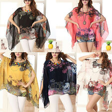 Women Sexy Batwing Sleeve Loose Chiffon Floral Print T-shirt Blouse Tops Summer