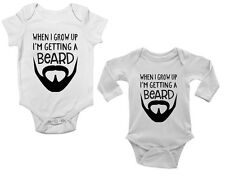 When I Grow Up I'm Getting a Beard Funny Cute Boys and Girls Baby Vest Bodysuit