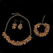 Wedding Bridal Party Glass Crystal Shiny Women Necklace Earrings Jewelry Sets