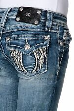 MISS ME Girls Angel Wings Faux Leather Boot Jeans Sizes 7 8 10