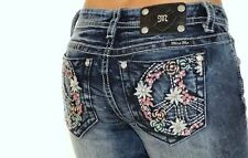 MISS ME GIRLS FLORAL JEWELED FLOWER POWER PEACE SIGN CAPRI JEANS SIZE 7 8 10