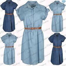 Womens Belted Turn Up Short Sleeve Top Ladies Collared Ruched Mini Shirt Dress