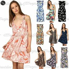 Womens Midi Dress V Neck Floral Print Ladies Spring Coil Greek Jersey Short 8-22