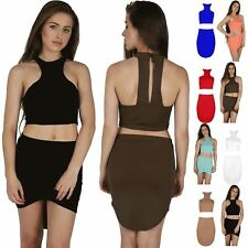 Women High Low Racer Halter Neck Ladies Cropped Top Front Mini Skirt Co Ord Set