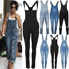 Ladies Ripped Light Black Wash Jumpsuit Womens Faded Denim Dungarees Slim Jeans