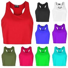 Womens Deep Side Cut Out Cropped Ladies Plain Racer Muscle Back Tank Vest Top