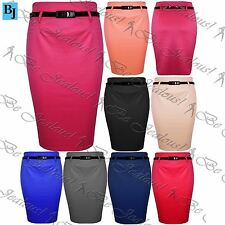Ladies Womens High Waisted Office Pleated Plain Bodycon Belted Pencil Midi Skirt