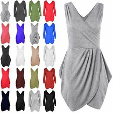 Womens Ladies Wrap V Neck Detail Tunic Tulip Shape Club Party Evening Mini Dress