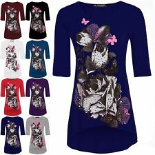 Womens Ladies Floral Butterfly Dip Hem 3/4 Sleeves High Low Tunic Top Plus Size